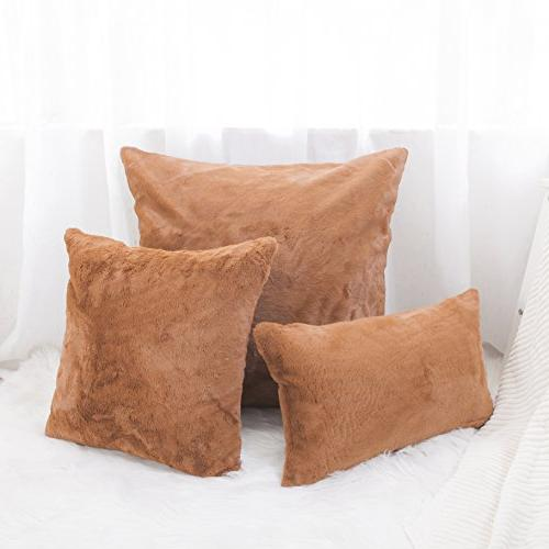 HOME Faux Square Pillow Cover Deluxe Sheepskin Cushion for Patio, Pillow Included, 1 Pc, inch,