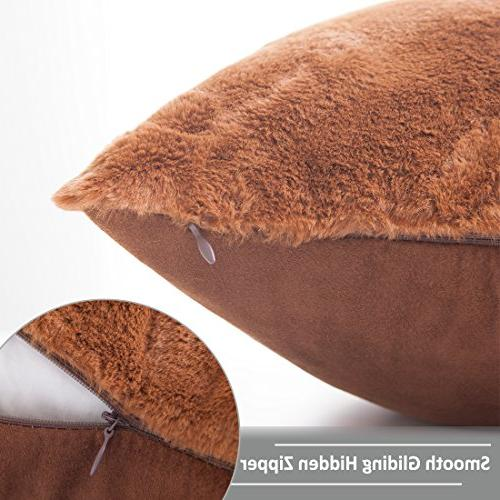 HOME Plush Mongolian Faux Fur/Suede Square Pillow Deluxe Fluffy Sheepskin Case Shell for Included, 1 18