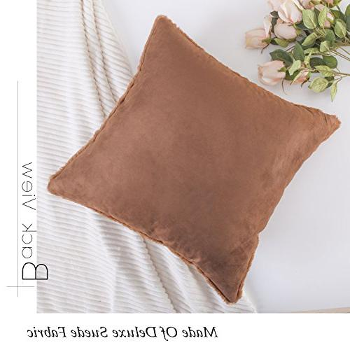 HOME Plush Faux Fur/Suede Pillow Deluxe Sheepskin Cushion for Included, inch,