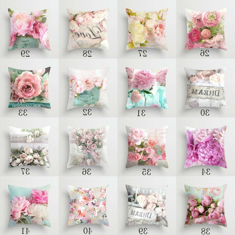 Polyester flower pillow cover car throw waist cushion cover Home Decor