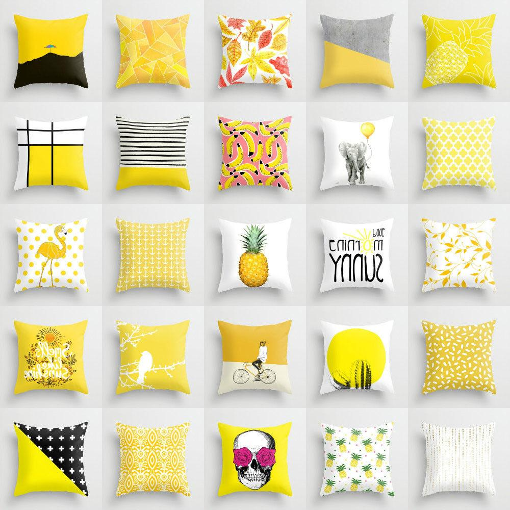 Polyester Yellow pillow case cover sofa car waist throw cush