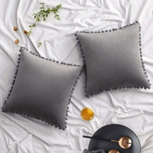 Pompom Pillow Covers Set Car Decor Cases Simple