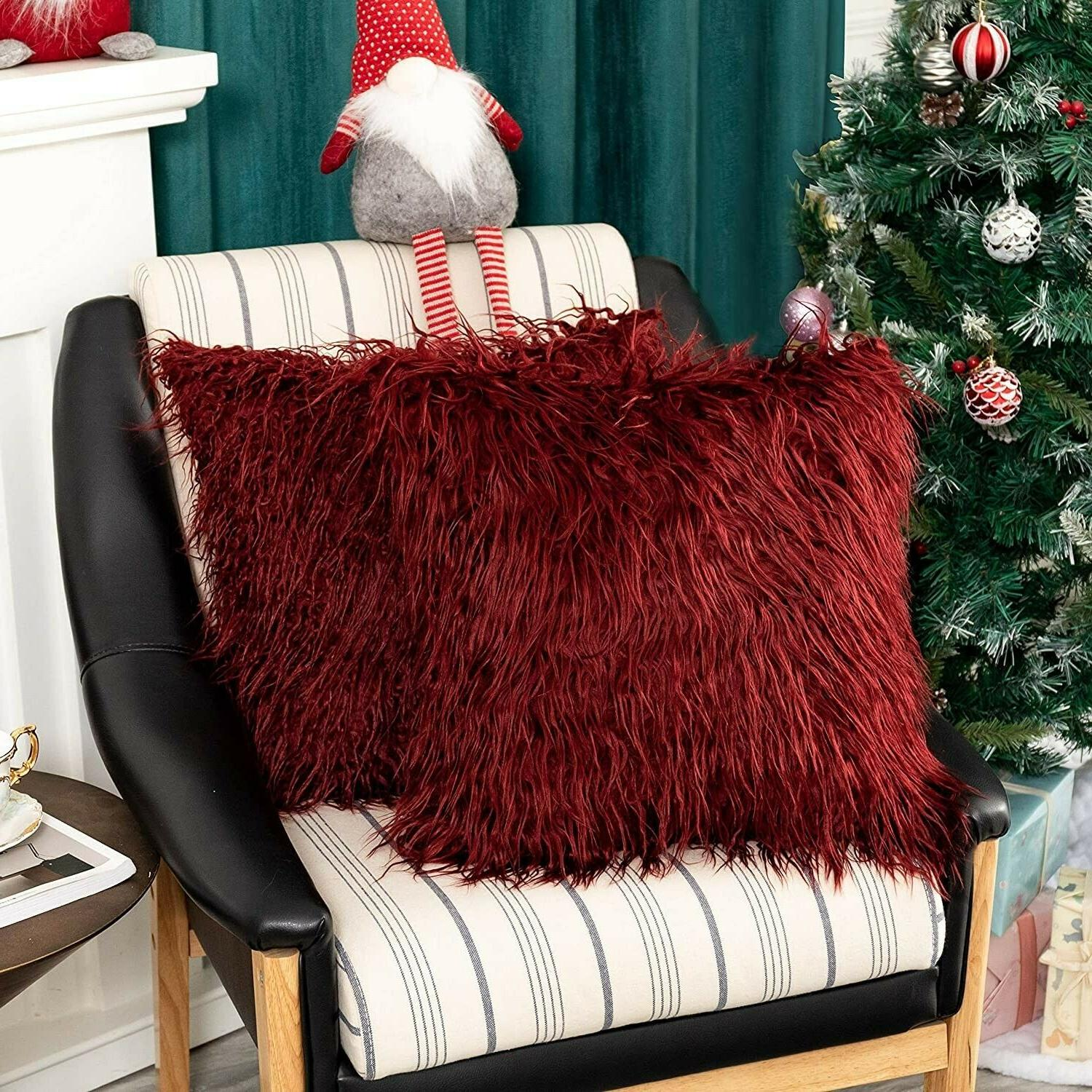 red faux fur throw pillow cover handmade