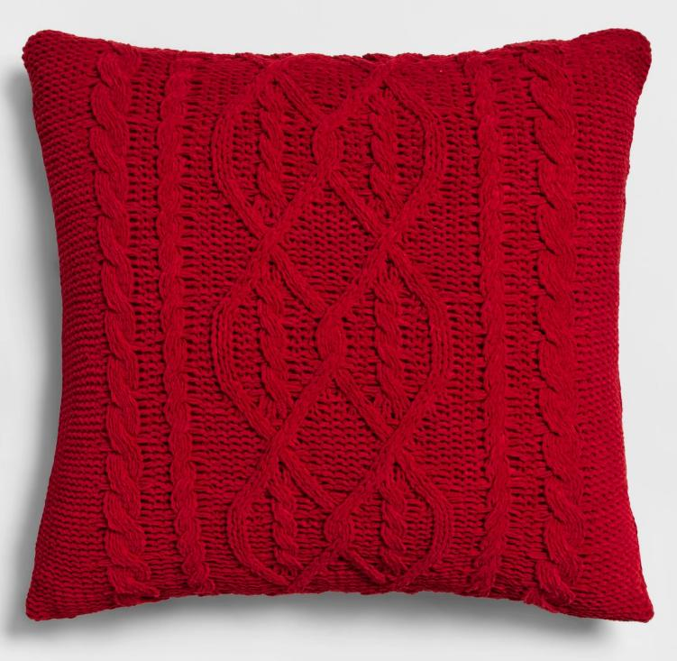 Red Knitted Square Throw Pillow - New - Threshold