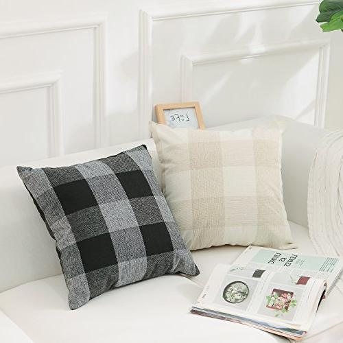 HOME Plaids Cotton Summer Decoration Covers Cases Cover Sofa, 2 Pack, 18x18 Beige
