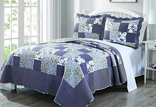 reversible patchwork plaid floral blueberry
