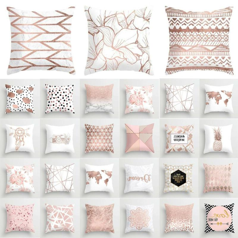 Pink Cushion Cover Letter Print Pillow Pillowcase