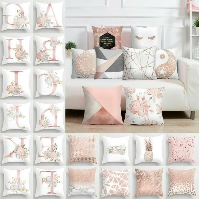 Pink Rose Floral Throw Pillow Case Cushion Cover Home Decor