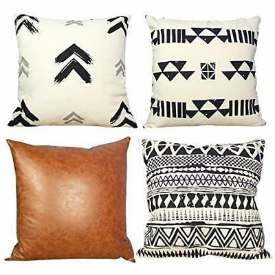 set of 4 throw decorative pillow covers