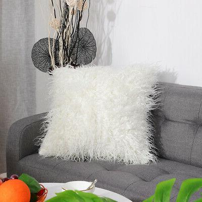 Soft Shaggy Fur Square Pillow Cover for Sofa Bed