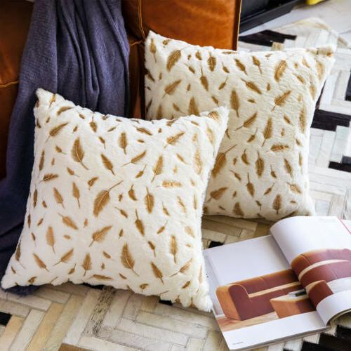 2pcs Feather Faux Fur Decorative Throw Pillow Case Sofa Cush