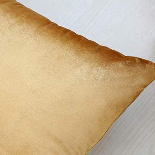 HOME BRILLIANT Luxury Velvet Oblong Pillow Cover Cushion for Living Wedding Party, Gold