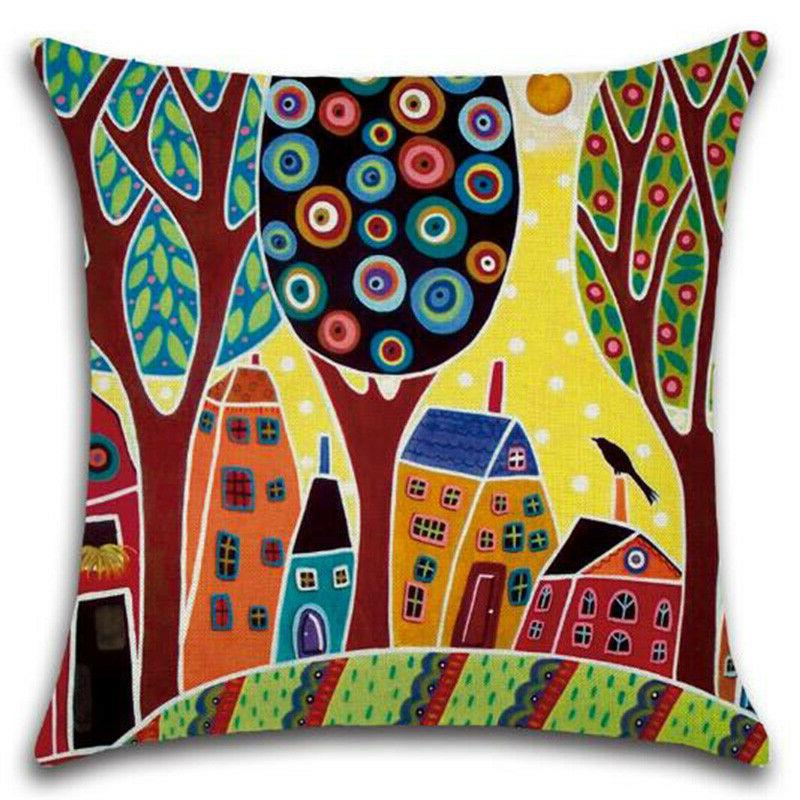 Square Colorful Pillow Case Throw Couch