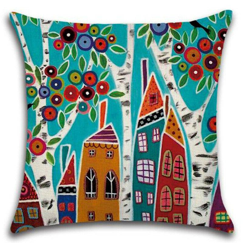 Square Colorful Throw Pillow Car Couch Comfort Decor