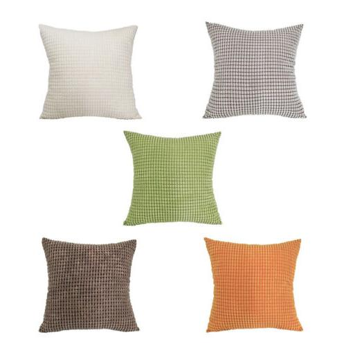 New Soft Corduroy Corn Striped Throw Pillow Case Cover