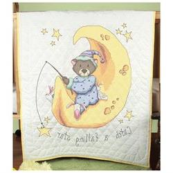 Stamped Baby Quilt Top 36X50-Catch A Falling Star