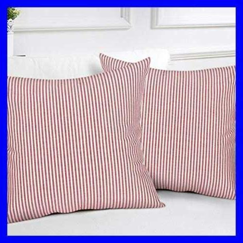 Striped Throw Woven RED WHITE 2 18X18inch