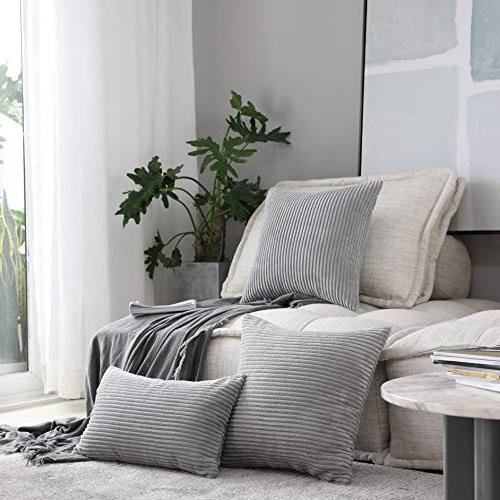 HOME Decor Pillows Velvet Cover for Decorative Pillowcase, Light Grey,