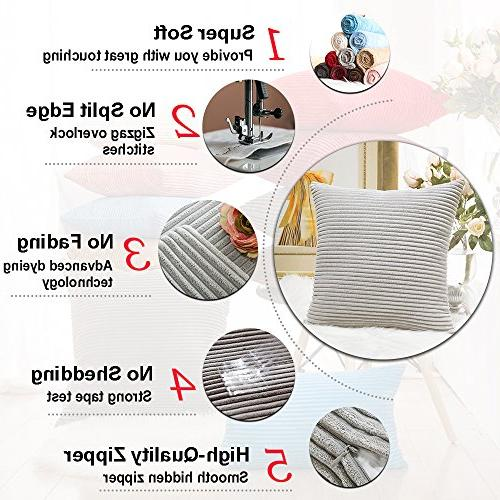 HOME Decor Pillows Striped Cushion Cover for Pillowcase, Set of Light Grey,