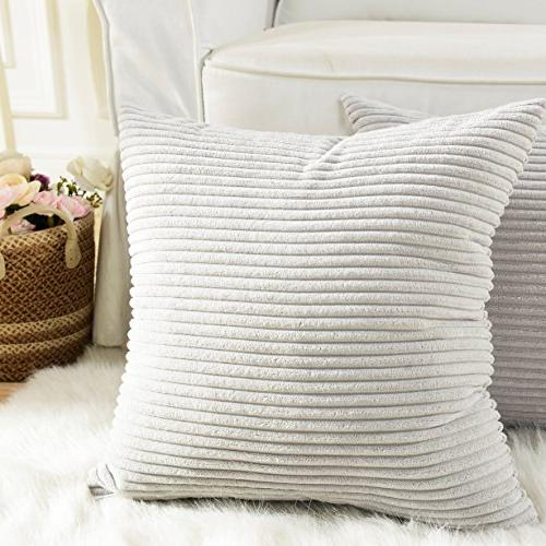 HOME Throw Pillows Striped Velvet Cover for Pillowcase, Light Grey,