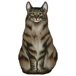 Tabby Cat Wistful Whiskers Doorstop - Maine Coon