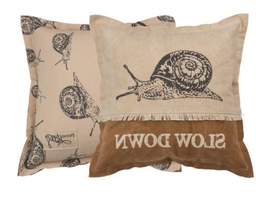 throw accent couch pillow slow down snail