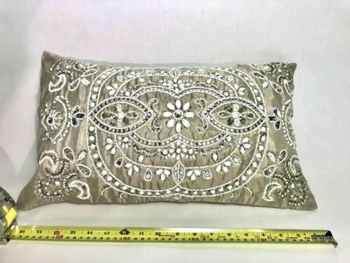 Pier Pillow Sequence Silver White Art Ornate