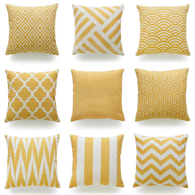 Throw Pillow Case Mustard Yellow Fabric Cotton Linen Cushion