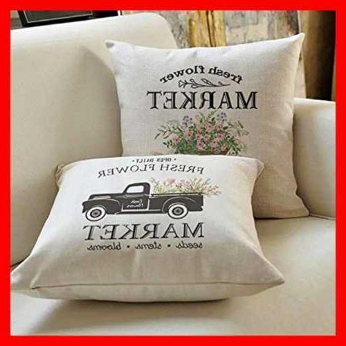 "Throw Pillow Covers 18X18"" Set 4 Linen For Farmhouse S White"
