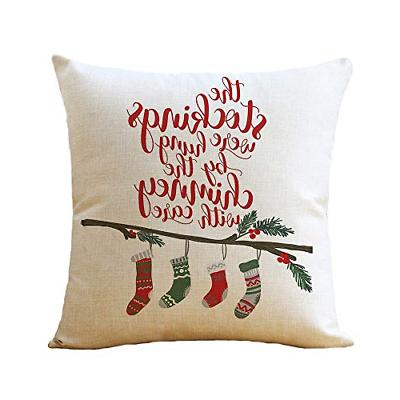 WOMHOPE Throw Pillow Cases Christmas Red Truck