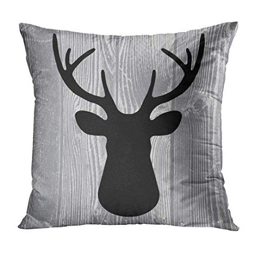 Emvency Set of 4 Throw Pillow Rustic Head Vintage Antlers Silhouette Wood Decorative Cases Home Decor 18x18 Inches Pillowcases