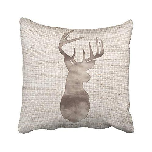 Emvency Set 4 Throw Covers Deer Rustic Vintage Silhouette Wood Decorative Cases Home Inches Pillowcases