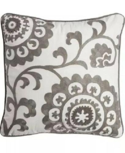 Threshold Throw Pillow Gray Suzani Embroidered Flowers Decor
