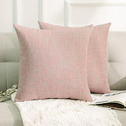 HOME 2 Day Pink Chenille Couch Cushion for 45x45cm, Cherry Blossom