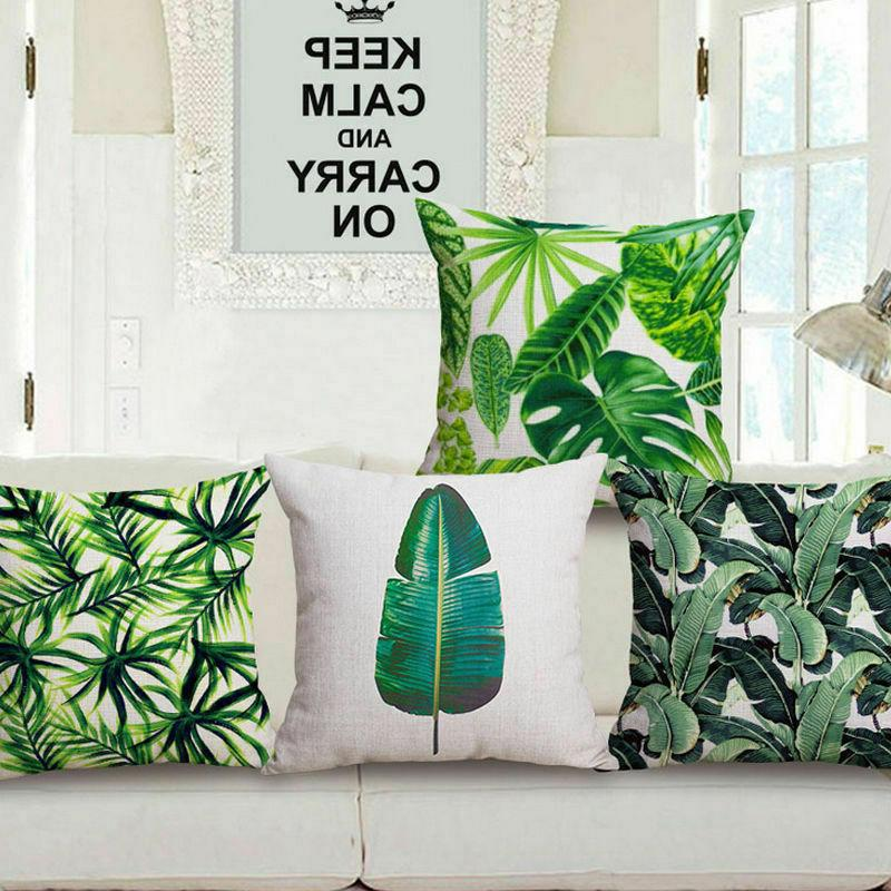 Tropical Plant Leave Pattern Cushion Cover Square Sofa Waist