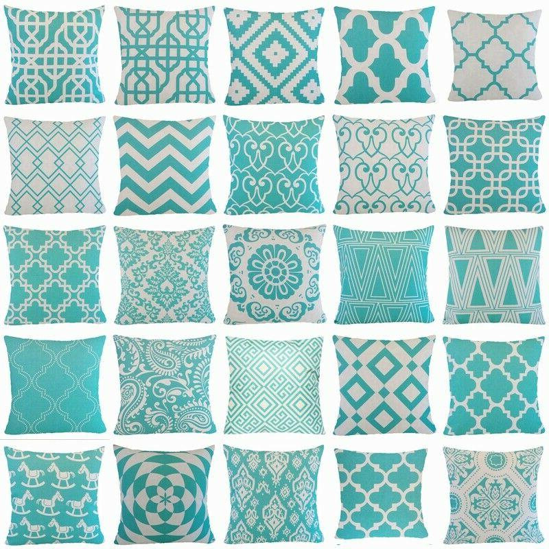 turquoise blue white throw pillow cover sofa