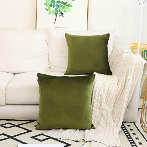 HOME Set 2 Velvet Accent Pillow Decorative Spring, 45cm 45cm, Avocado Green