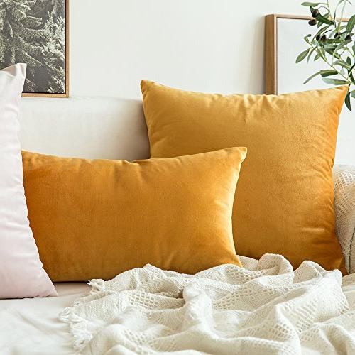 Miulee of Velvet Square Throw Pillow Covers Set Cushion Case for Sofa 18 45