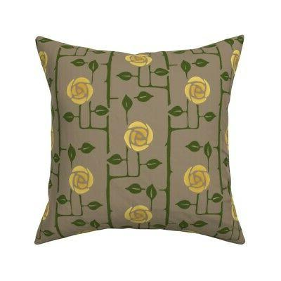 victorian roses arts and crafts throw pillow