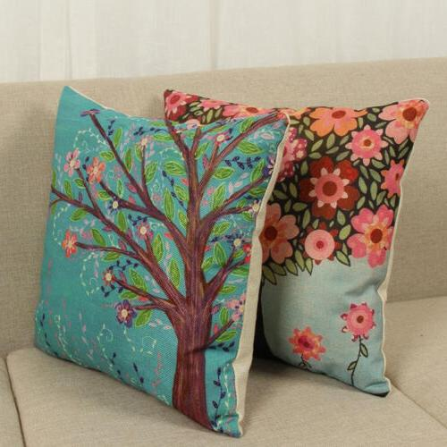 Floral Tree Pattern Waist Cushion Pillow Case Decor