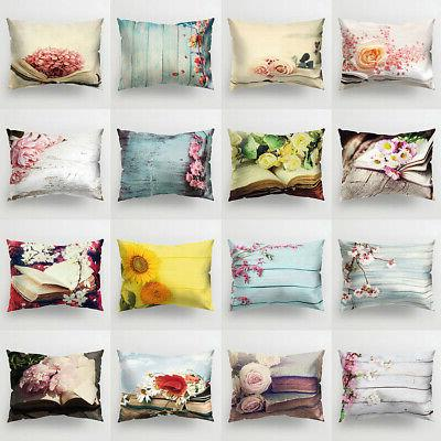 Flower Printed Throw Pillow Protector Case Cushion Cover Bed