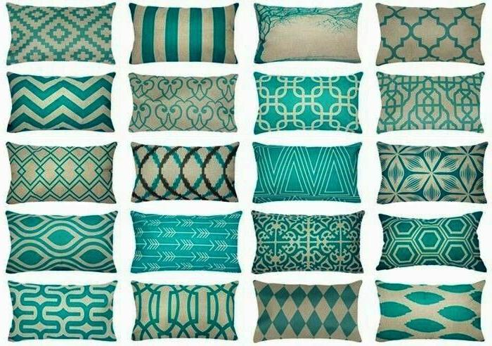 vintage turquoise blue sofa couch throw pillow