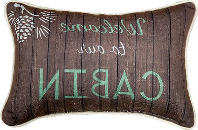Welcome to Our Cabin Lodge Word Pillow