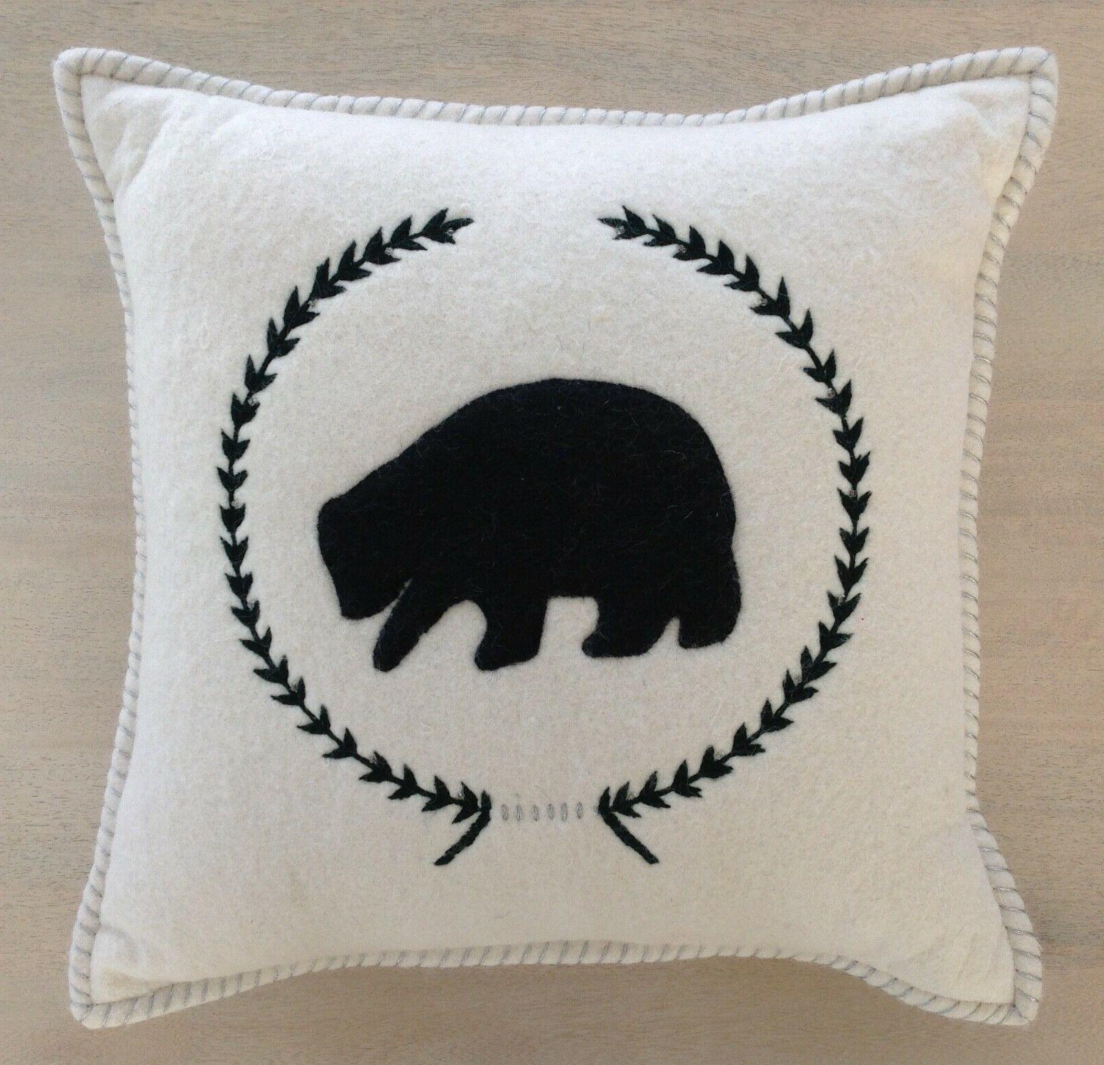 "White Felted Wool Black Bear Throw Pillow ~ 18"" x 18"" ~ Lodg"