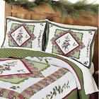 Woodland-inspired Pinecone Patchwork Quilted Pillow Sham, by