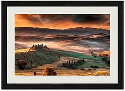 Landscape Nature Tuscany Valley - Art Print Wall Black Wood