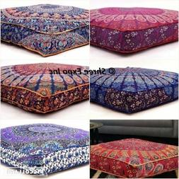Large Mandala Floor Cushion Throw Square Pillow Cover,Dog Be