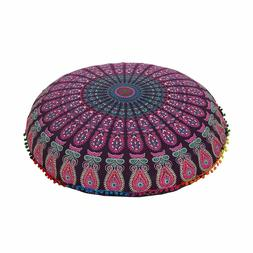 Large Ombre Mandala Floor Pillows, Round Cushion Cover, Deco