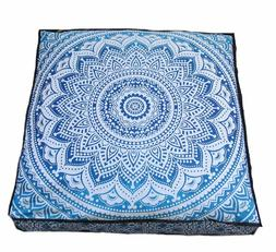 Large Ombre Mandala Floor Pillows, Square Cushion Cover, Dec