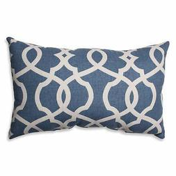 Pillow Perfect Lattice Damask Rectangular Throw Pillow, Blue